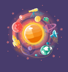 solar system and space flights vector image