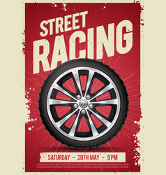 speed street racing poster flyer with car wheel vector image