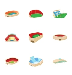 Sports stadium icons set cartoon style vector image