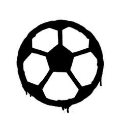sprayed football ball icon graffiti overspray in vector image