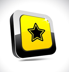 Star 3d square button vector