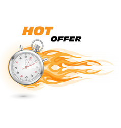 stopwatch in flame - special hot limited time vector image