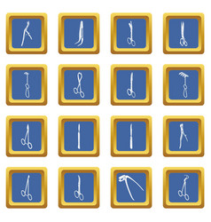 surgeons tools icons set blue square vector image