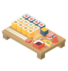 sushi japanese cuisine asia food icon set with vector image