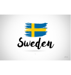 Sweden country flag concept with grunge design vector