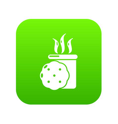tea and biscuit icon green vector image