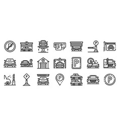Underground parking icons set outline style vector