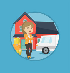 woman moving to house vector image