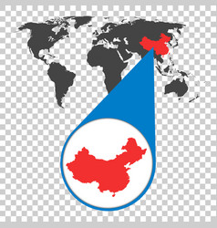 World map with zoom on china map in loupe in flat vector