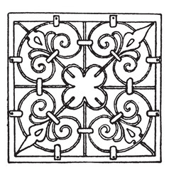 wrought-iron square panel was is a 17th century vector image