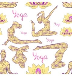 Yoga silhouette pattern vector image