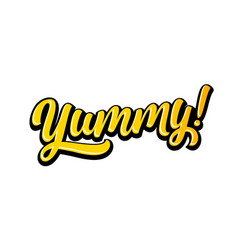 yummy doodle for tasty delicious food yum text vector image