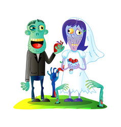 Zombies wedding with married zombie couple vector