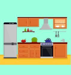 kitchen interior with kitchen room furniture vector image