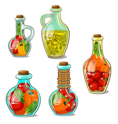 marinades in bottles and jugs homemade canned food vector image