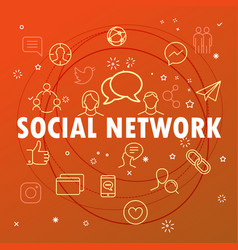 social network concept different thin line icons vector image vector image