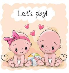 two cute cartoon babies vector image