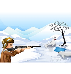A hunter in a snowy season vector image vector image