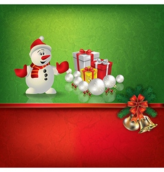 Abstract grunge red green background with snowman vector image