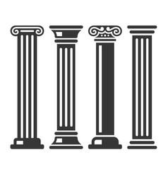 Ancient columns icon set vector