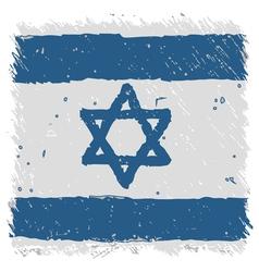 Flag of Israel handmade square shape vector image