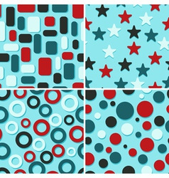 four retro abstract seamless patterns vector image vector image
