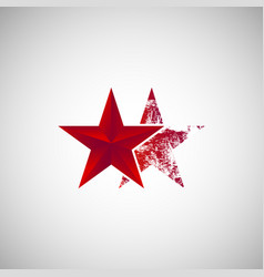 isolated two red star logo vector image vector image