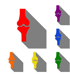 knee joint sign set of red orange yellow green vector image