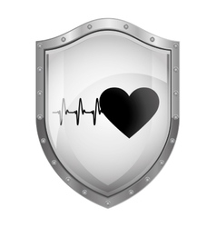 Metallic shield with heart and beat vector