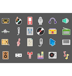 Music stickers set vector image