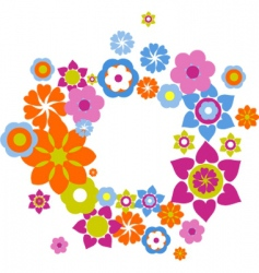 retro flowers background vector image