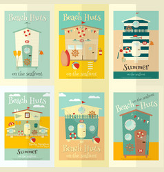 beach huts posters vector image vector image