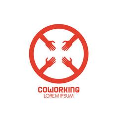 coworking hand symbol vector image