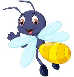 Cute bee cartoon waving vector image vector image