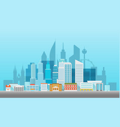 Modern cityscape office builngs houses and vector