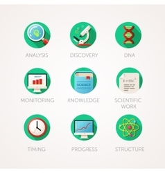 Science icons set Modern flat colored vector image