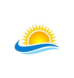 sun shine beach ocean water logo vector image vector image