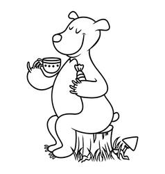 Bear drinking tea vector image
