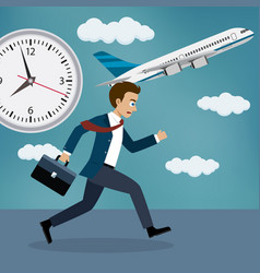 businessman running behind a plane vector image