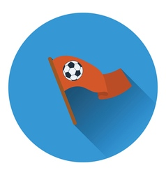 Football fans waving flag with soccer ball icon vector image