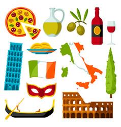 Italy icons set italian symbols and objects vector