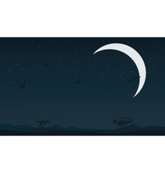 Landscape dinosaur at night silhouettes vector image vector image