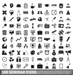 100 seminar icons set simple style vector