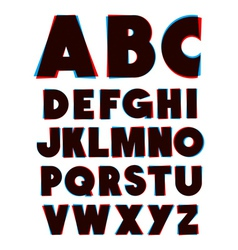3d glasses effect alphabet font type alphabet vector