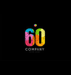 60 number grunge color rainbow numeral digit logo vector image