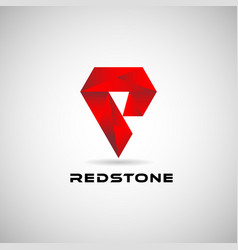 abstract red geometric shape logo sign symbol icon vector image
