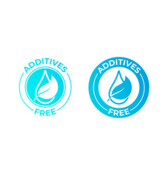 Additives free leaf and drop icon natural food vector
