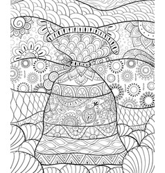 Adult coloring bookpage a cute sack vector