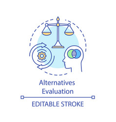 Alternatives evaluation concept icon pros vector