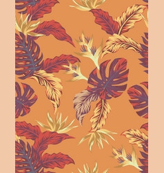 autumn orange jungle seamless pattern vector image